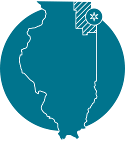 state of illinois with chicago highlighted