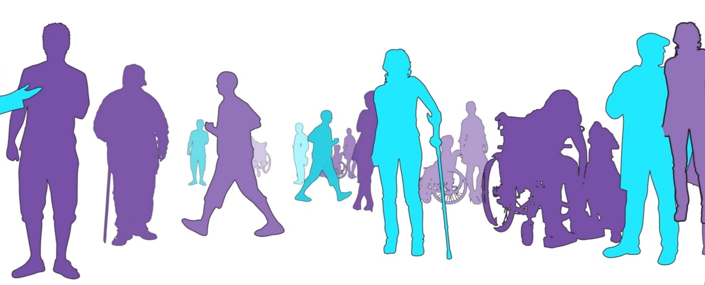 silhouettes of different people with disabilities