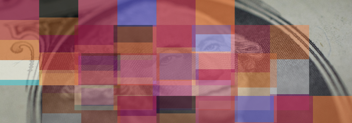 George Washington with different color squares over the image